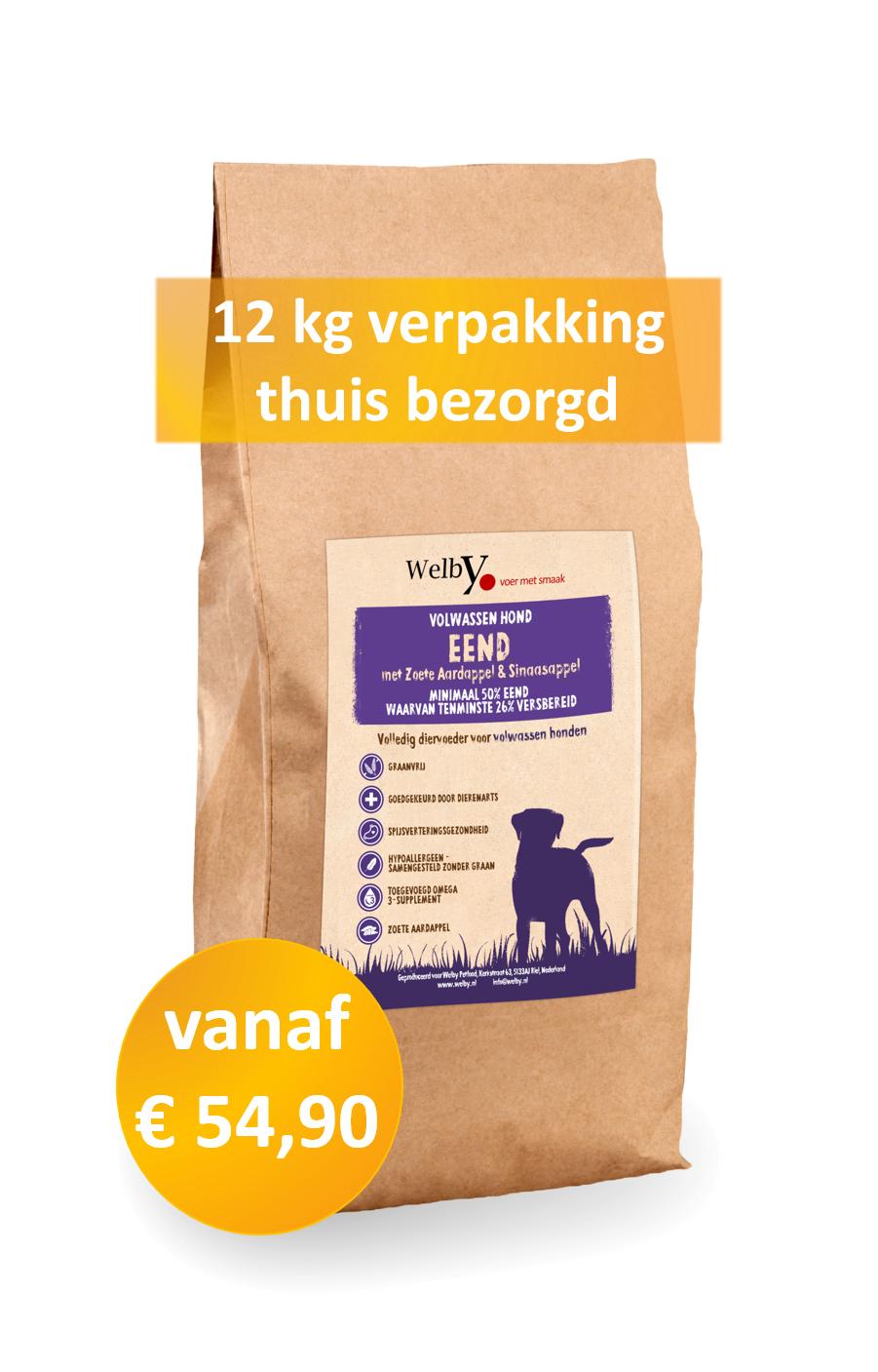 Welby Eend 12kg graanvrij en hypoallergeen hondenvoer